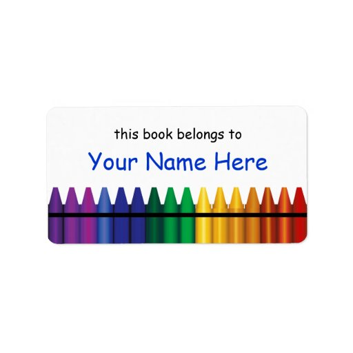 crayon labels template - crayons bookplate template label 2 address label zazzle