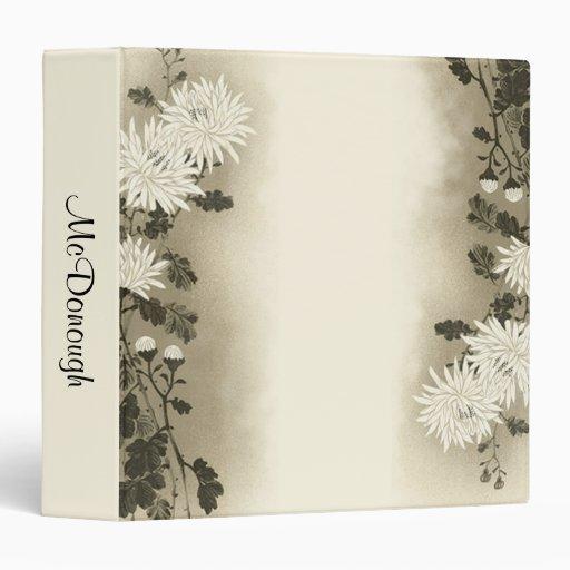 Cream Floral Mum Vinyl Binders