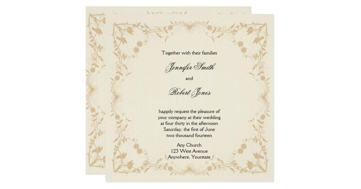 Cream And Gold Wedding Invitations: Cream Gold Vintage Floral Wedding Invitation