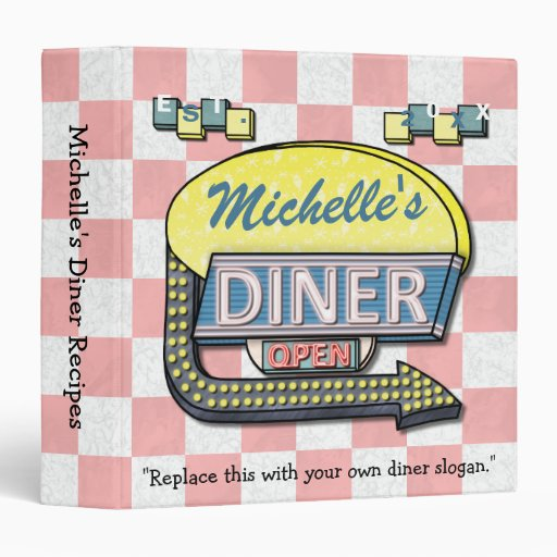 Create Your Own Retro 50's Diner Sign Recipe 3 Ring Binder