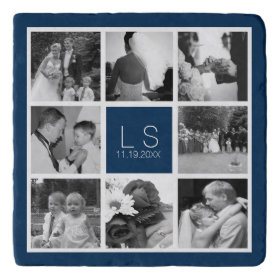 db35676ba163d Create Your Own Wedding Photo Collage Monogram Trivets