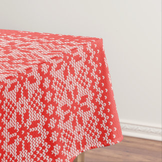 Cross Stitch Christmas Red Tablecloth