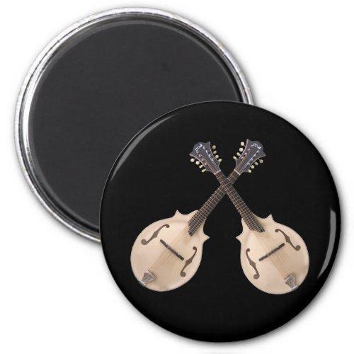 Crossed Mandolins Round Magnet