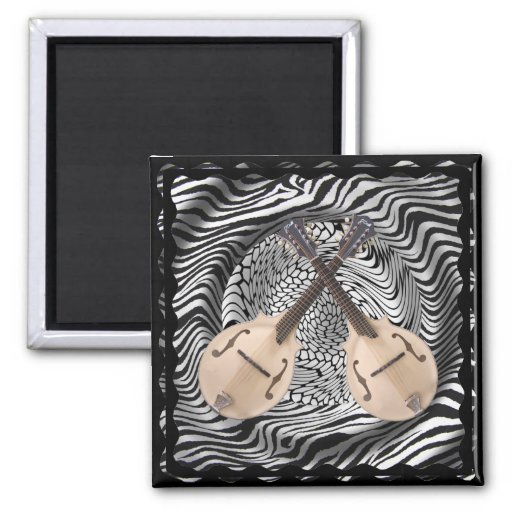 Crossed Mandolins 2-inch Square Magnet