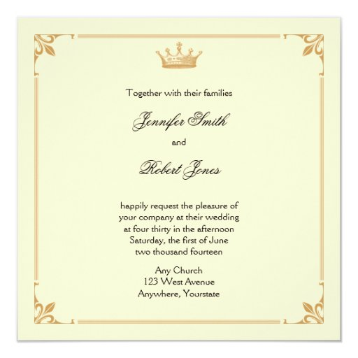 Regency Wedding Invitations: Crown Regency In Gold And Ivory Wedding Invitation