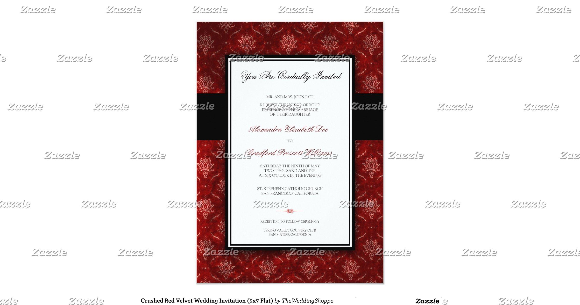 Velvet Wedding Invitations: Crushed_red_velvet_wedding_invitation_5x7_flat