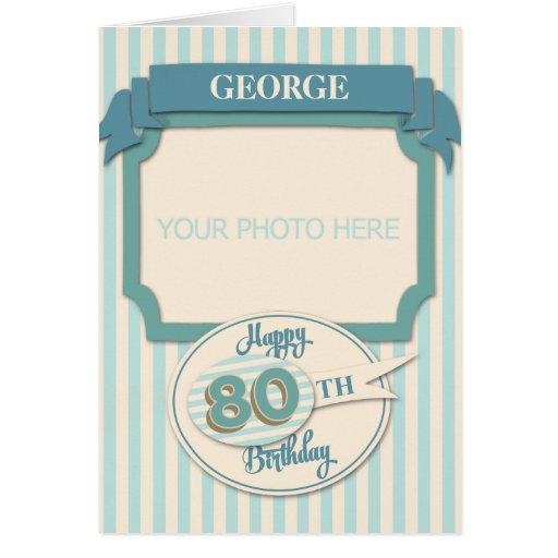 Custom 80th Birthday Card - Add Name And Photo