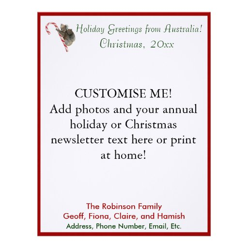 27 Personalized Stationery Templates: Christmas Newsletter Letterhead