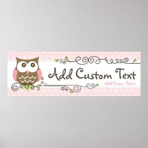 Baby Shower Custom Banners: Custom Baby Shower Owl Banner Print