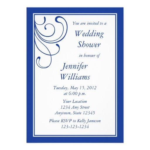 Dark Blue Wedding Invitations: Custom Dark Blue Wedding Shower Invitation Personalized