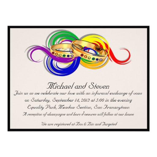 Custom Gay Wedding Invitations, Non-Formal