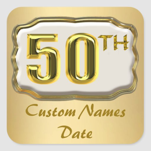 Custom Gold 50th Anniversary Or Birthday Stickers