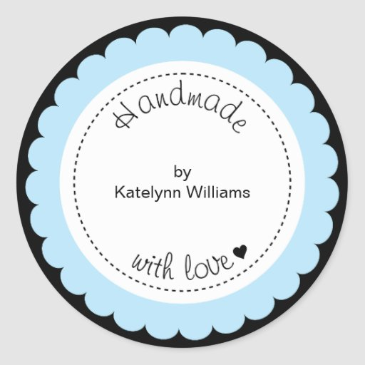 Custom Handmade With Love Party Favor Stickers | Zazzle