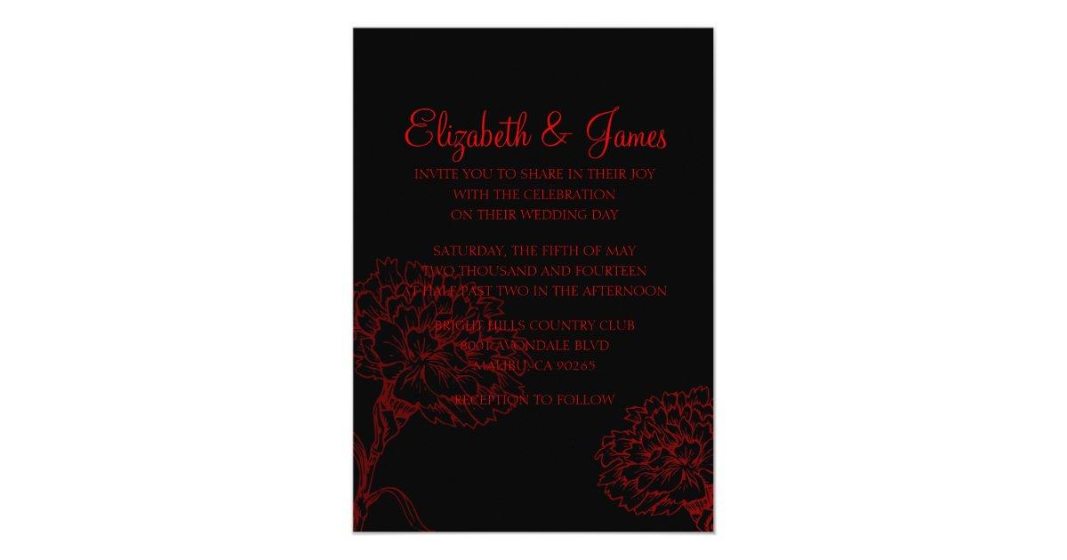 Wedding Invitations Red And Black: Custom Modern Black And Red Wedding Invitations