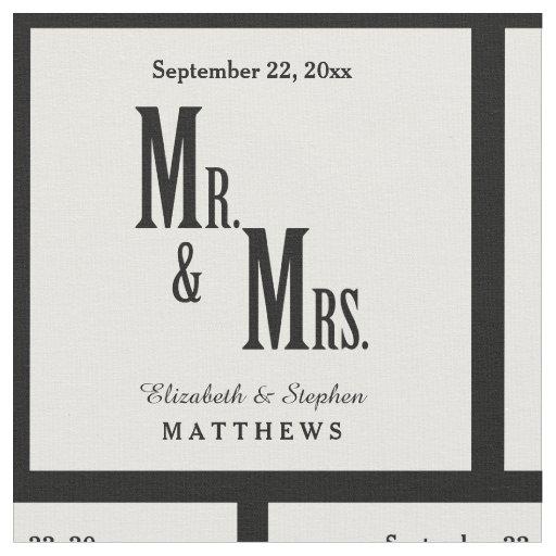 Custom Mr. and Mrs. Wedding Template Fabric   Zazzle