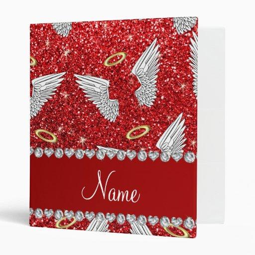 Custom Name Red Glitter Angel Wings Binder