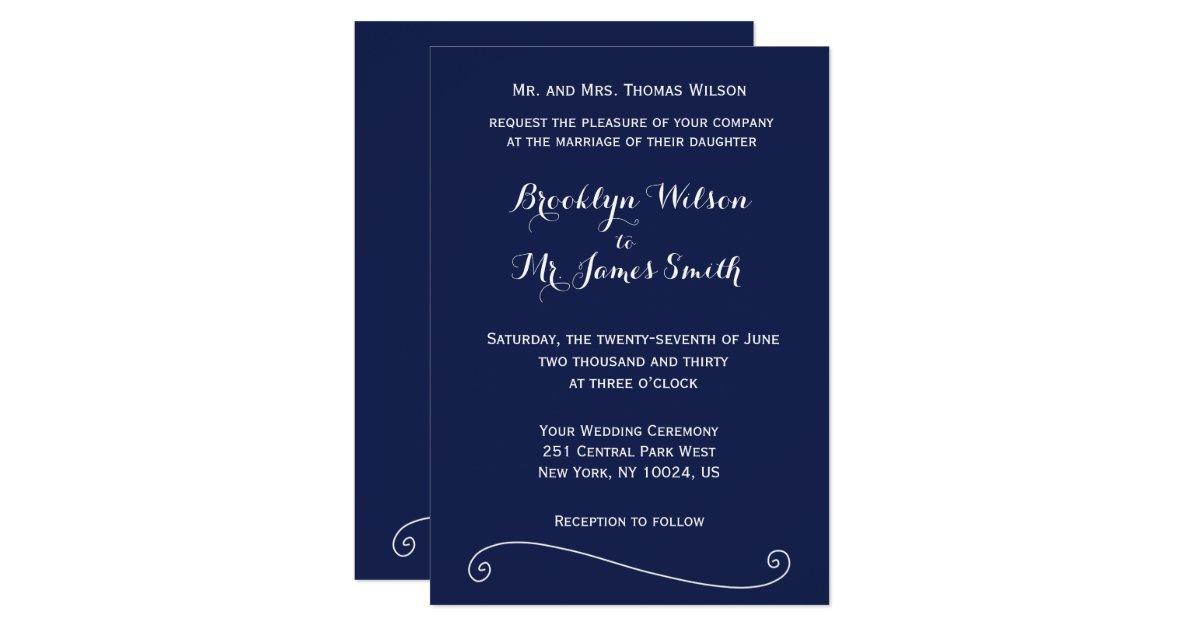 Navy Blue And White Wedding Invitations: Custom Navy Blue And White Wedding Invitations
