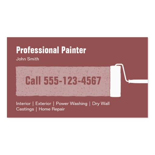 Professional Interior Paint Products For Contractors: Custom Professional Painting Contractor Business Card