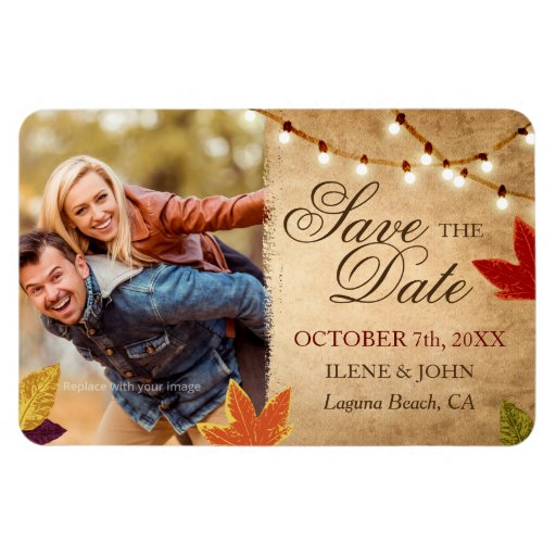 Custom Save The Date Magnets Fall Wedding Zazzle