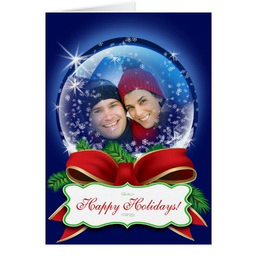 Custom Snow Globe Christmas Photo Xmas Holiday Card