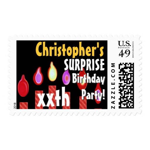 Custom SURPRISE Birthday Party Stamp - RED Candles