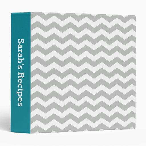 Custom Teal Gray Chevron Stripes Recipe Binder