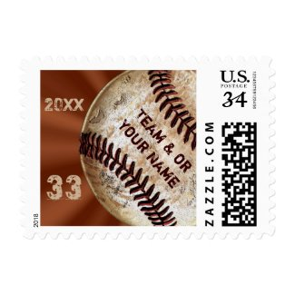 Custom Vintage Baseball Stamps 3 Text Templates