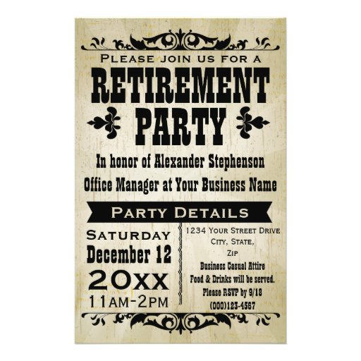 Custom vintage country retirement party invitation flyer for Free retirement templates for flyers