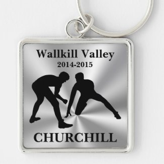 CUSTOM Wrestling Keychains for Coaches, Wrestlers Silver-Colored Square Keychain