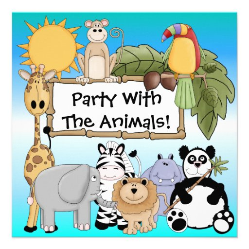 Pink Zoo Animals Safari Lion Zebra Baby 1st First Birthday: Zoo Themed Birthday Party Invitations