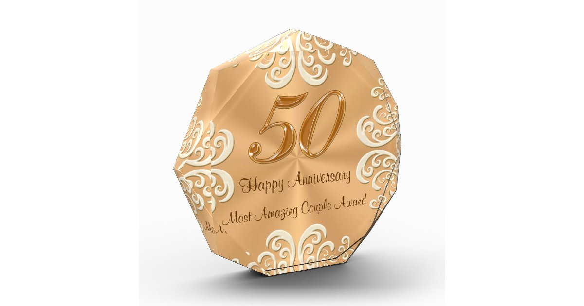 Golden Wedding Gifts Ideas: Customizable 50th Golden Wedding Anniversary Gifts Award