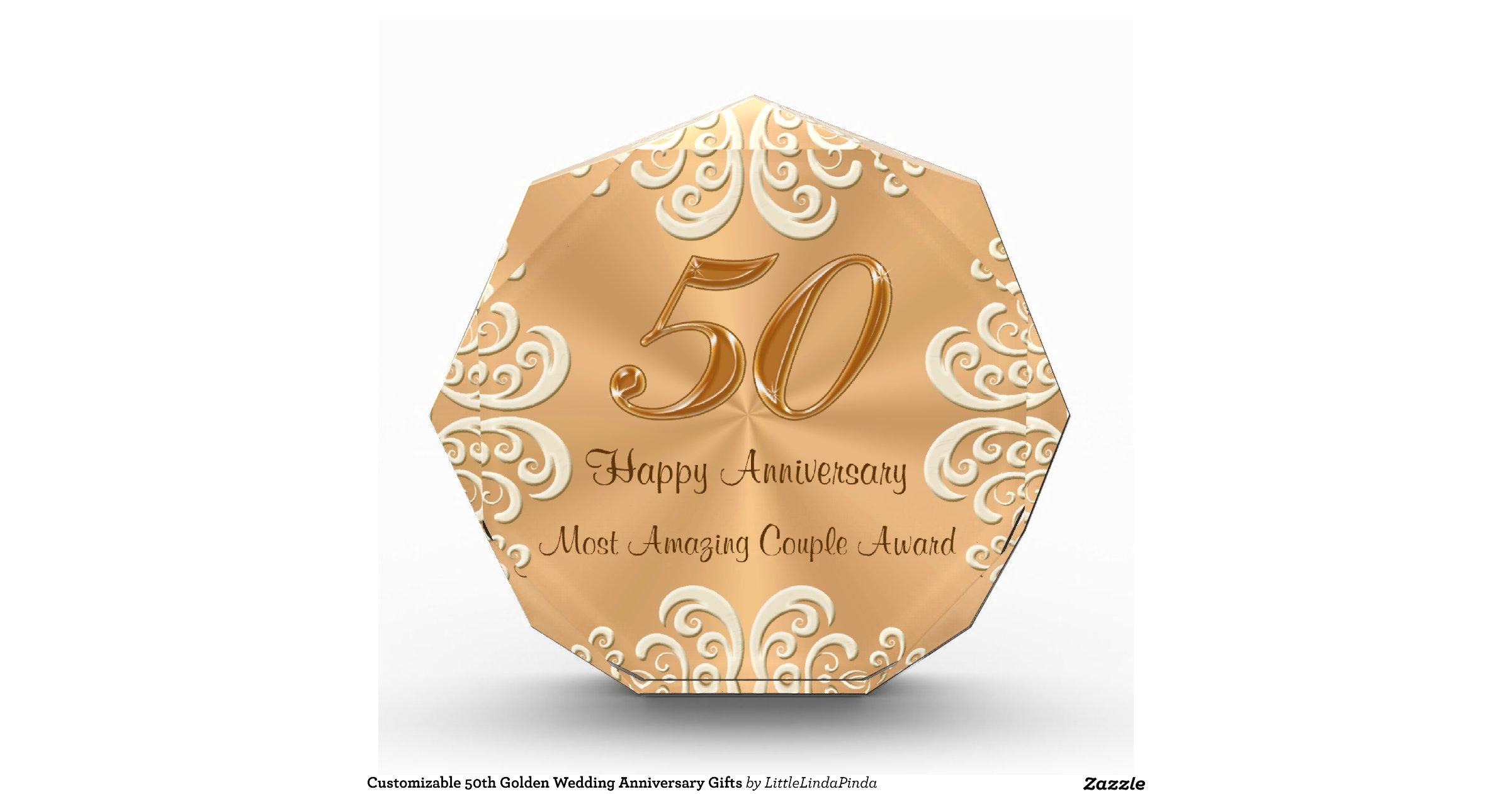 Golden Wedding Gifts Ideas: Customizable 50th Golden Wedding Anniversary Gifts Awards