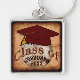 Customizable Baseball Graduation Gift Ideas Silver-Colored Square Keychain