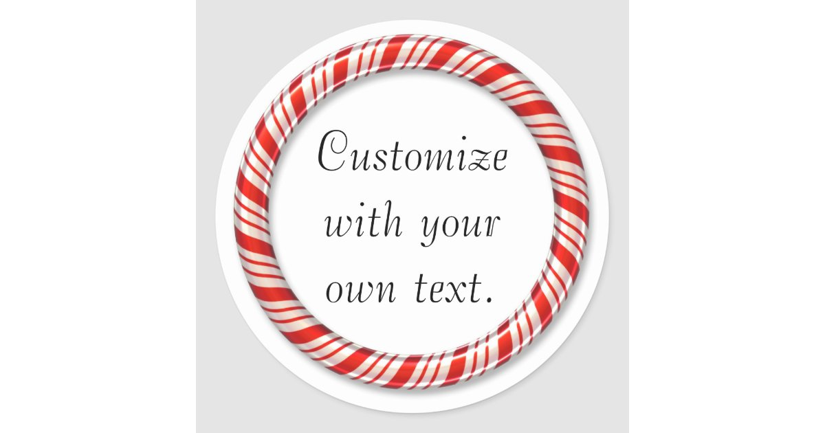 Customizable Christmas Candy Cane Circle Stickers Zazzle