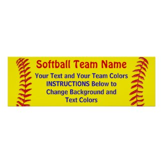 Customizable Softball Posters Your Text and Colors
