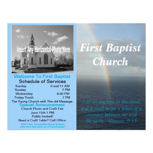 Customizable weekly church bulletin inside blank for Weekly bulletin template