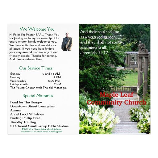 Customizable weekly church bulletin outside only for Weekly bulletin template