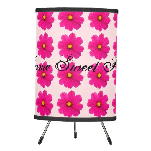 Girly Lamps For Bedroom: Customized Cute Girly Pink Flower Pattern Lamp