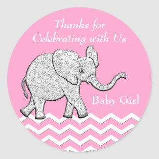 Customized Elephant Thank You Baby Shower Stickers