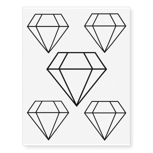 Cut Diamond Line Art, Modern Gemstone Temporary Tattoos ...