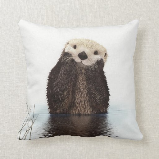 Cute Adorable Fluffy Otter Animal Throw Pillow Zazzle