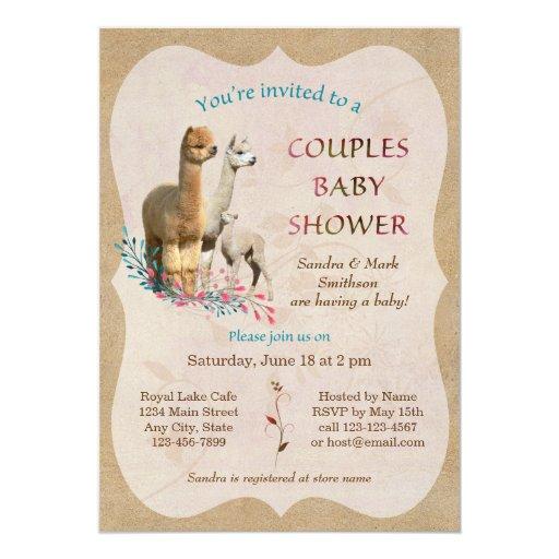 Family Baby Shower Invitations: Cute Alpaca Family Couples Baby Shower Invitation