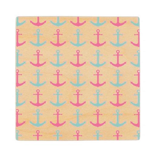 Cute Anchor Pattern Pink and Aqua Maple Wood Coaster | Zazzle