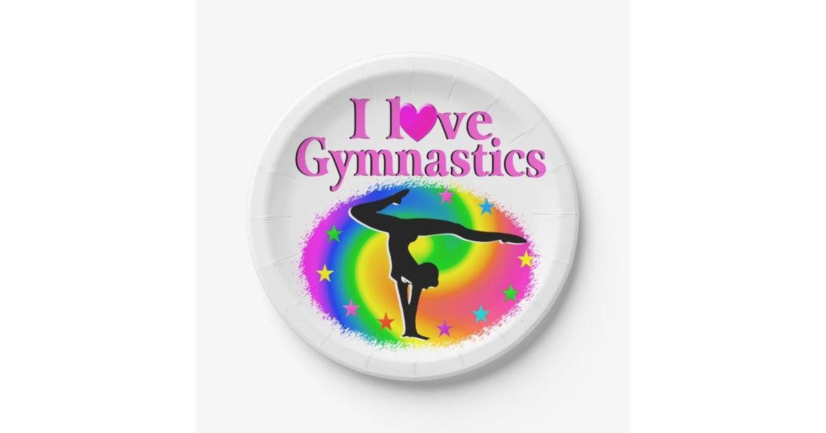 Cute And Colorful I Love Gymnastics Design Paper Plate