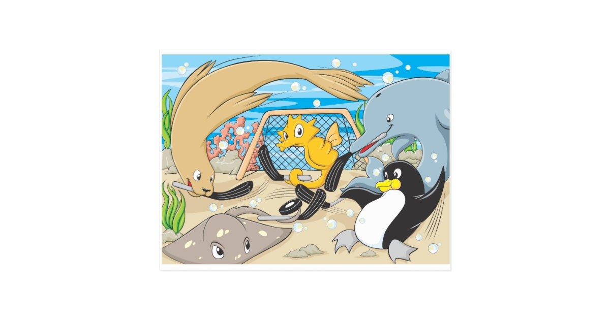 Cute Animals Player Water Hockey Goal Game Postcard | Zazzle