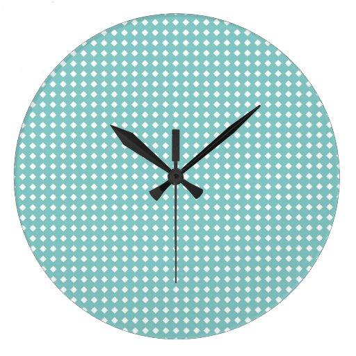 Cute Aqua Teal and White Geometric Pattern Large Clock ...