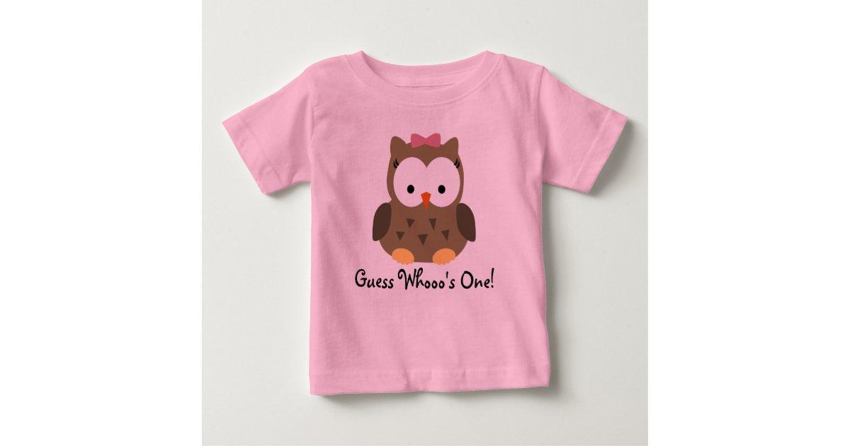 Cute Baby Girl Owl First Birthday T Shirt Zazzle