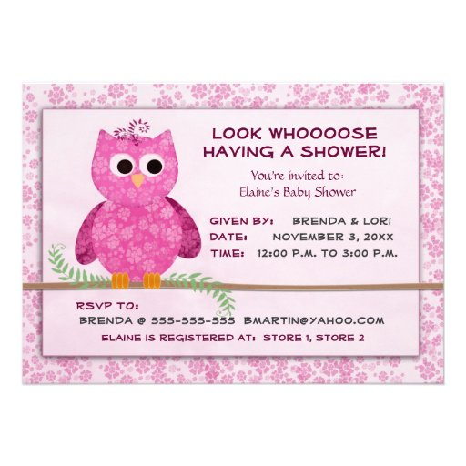 Cute Baby Girl Owl Shower Template 5x7 Paper Invitation