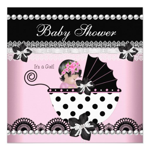 Cute Baby Shower Baby Girl Pink Black Pearl Invites