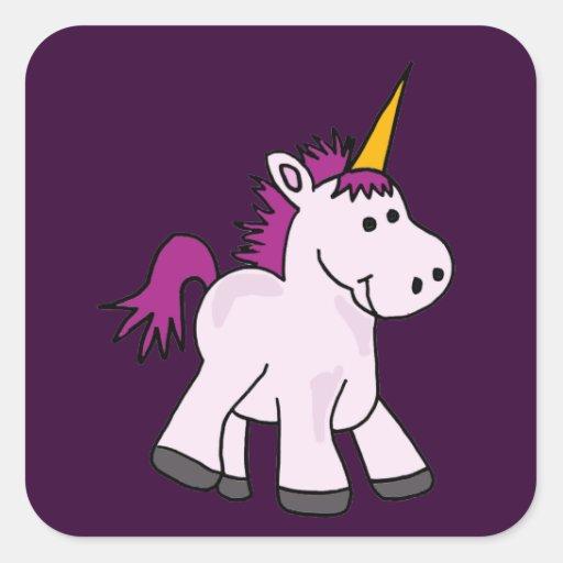 Cute Baby Unicorn Cartoon Square Sticker | Zazzle